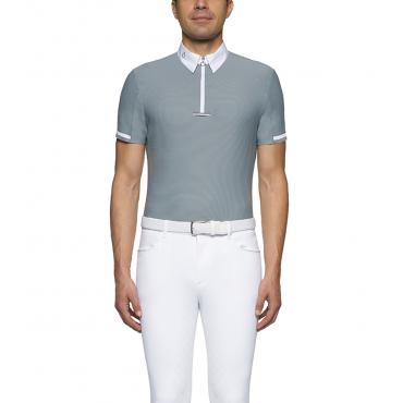 Polo de concours MC homme Bi-Color Tie Holder Zip CAVALLERIA TOSCANA • Sud Equi'Passion