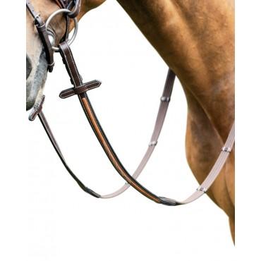 PRESTIGE ITALY - E89 Rênes sangle coton avec arrêtoirs et inserts cuir pour E87 • Sud Equi'Passion