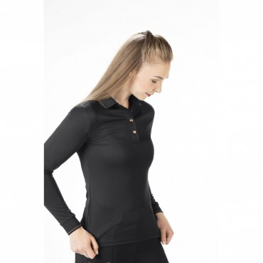 HKM - Polo manches longues femme Rosegold Glamour Style • Sud Equi'Passion