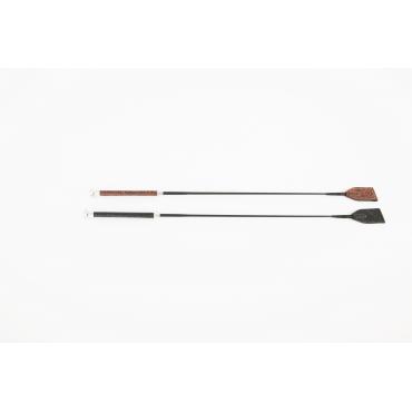 Cravache en carbone creux et cuir 65cm